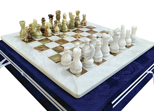 16 Inches White & Green Onyx Top Home Decor Ideas classic board games Chess Set – Handmade Marble Decor Chess Board Game Set – Non Othello Game - Non Backgammon - Classic Marble Chess Set