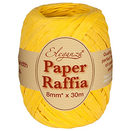 Eleganza 8 mm x 30 m Paper Raffia for Variety of Craft Projects and Gift Wrapping, No.11 Yellow Oaktree UK 629981