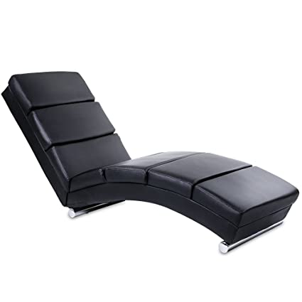 Miadomodo Chaise Longue Chair Sofa Modern Artificial Leather Black ...
