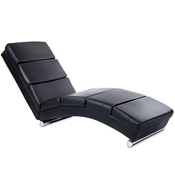 Miadomodo - Chaise Longue Fauteuil de Relaxation en Simili Cuir Noir on chaise furniture, chaise sofa sleeper, chaise recliner chair,