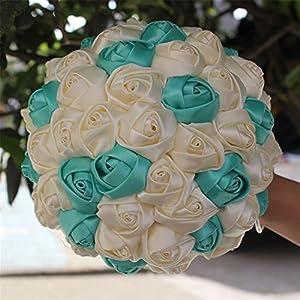 USIX Handcraft Solid Color Popular Satin Rose Bridal Holding Wedding Bouquet Wedding Flower Arrangements Bridesmaid Bouquet(Ivory+Tiffany Blue) 3