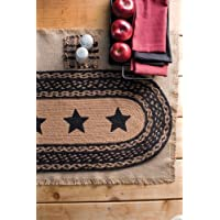 Country Style Black Tan Jute Runner Stencil Stars 13x36