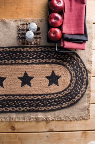 "Country Style Black Tan Jute Runner Stencil Stars 13x36"" -  - runner-rugs, entryway-furniture-decor, entryway-laundry-room - 51z2DllA0nL -"