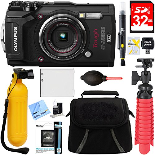 Olympus TG-5 12MP 4x Optical Zoom Digital Camera (Black) + 32GB Deluxe Accessory Bundle (Bag Olympus Gadget)