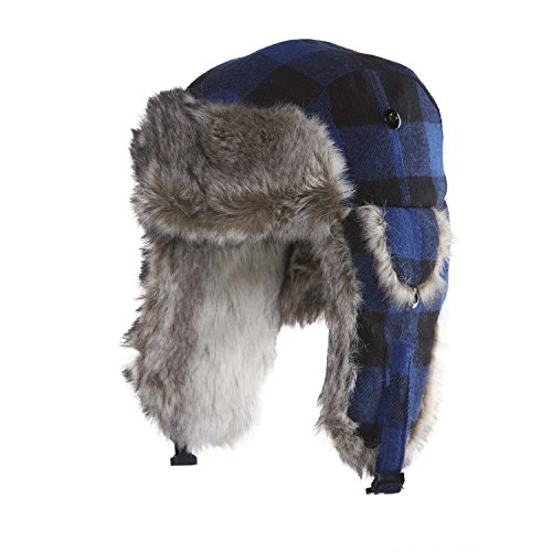 Chaos Hats Chola Plaid Trapper Hat, Royal, One - Hat Trapper Check
