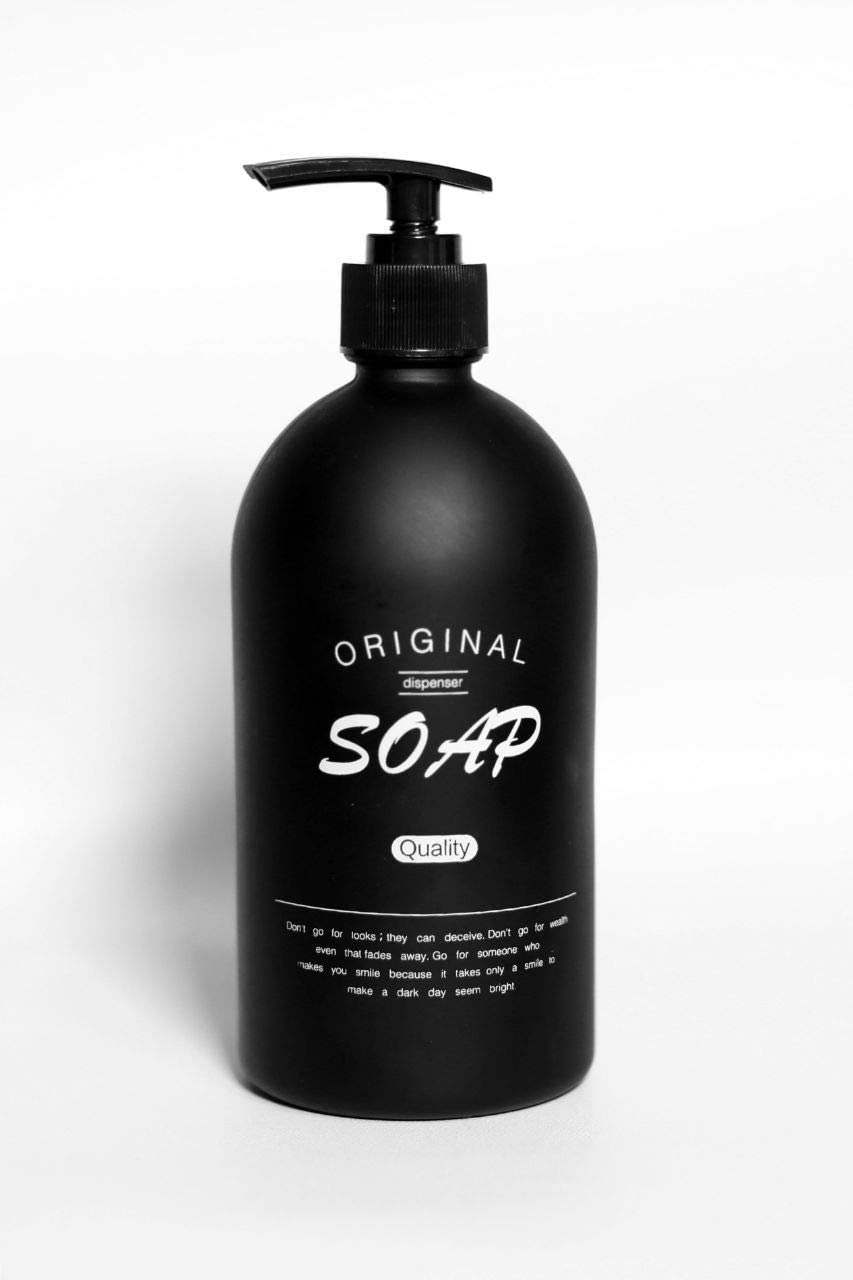 ASN Store - Dispensador de jabón de cristal negro mate, 500 ml, para jabón, líquido lavavajillas, champú, ideal para baño y cocina