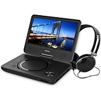WONNIE New 9.5 Inch Portable DVD Player with Swivel Screen, USB / SD Slot Perfect Gift for Kids ( Black )