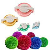 LOYALSAFE 4 Size Pom-Pom Makers Diy Tools Set Fluff Ball Bobble Weaver Needle Craft Knitting Wool Kit
