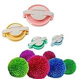 LOYALSAFE 4 Size Pom-Pom Makers Diy Tools Set Fluff Ball Bobble Weaver ...