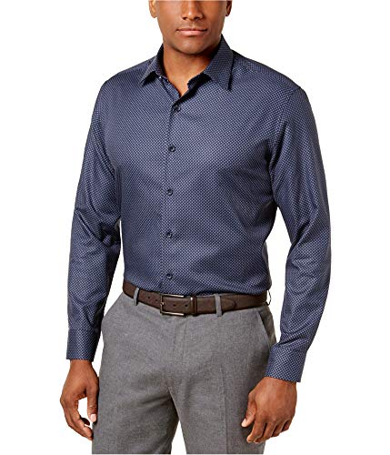 Tasso Elba Mens Javi Button Up Shirt Blue XL -