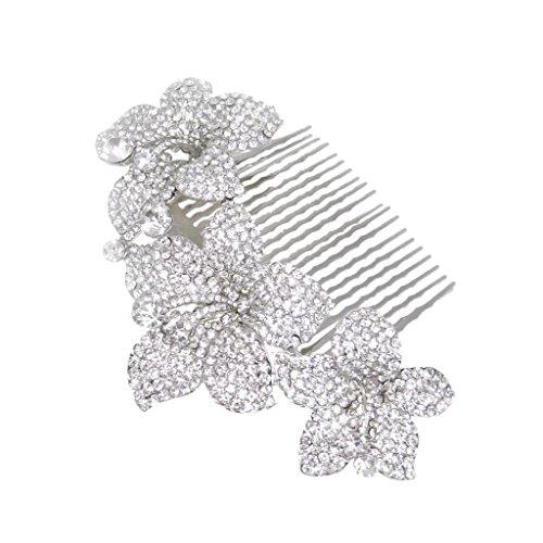 EVER FAITH Silver-Tone Bridal 3 Orchid Flower Clear Austrian Crystal Hair Comb