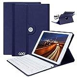 iPad Keyboard Case 9.7 for iPad 2018 (6th Gen) - iPad 2017(5th - Gen) - iPad Pro 9.7 - iPad Air 1 2 Slim Leather Folio Cover with Wireless Bluetooth Keyboard (Dark Blue)