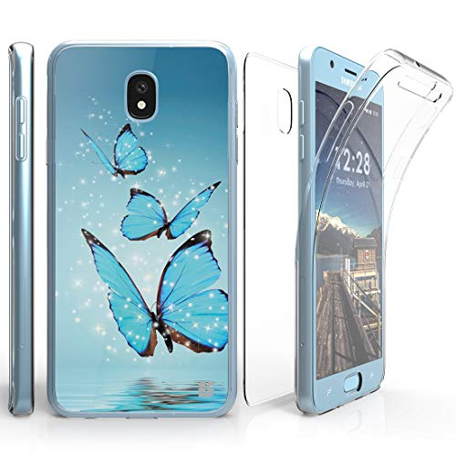 Tri Max Case Compatible Samsung Galaxy J3 Orbit, Slim Full Body Coverage Case Cover Self-Healing Flexible Gel Clear Screen Protector Atom Cloth - Blue Butterfly ()