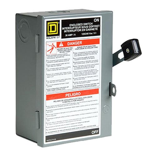Square D by Schneider Electric L211N 30 Amp 120/240-Volt Two-Pole Indoor Light Duty Fusible Safety Switch with Neutral (Disconnect Box)