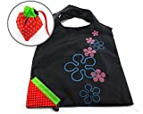 New Reusable Totes,FuzzyGreen Reusable Totes Sturdy Strawberry Environmental Protection Reusable Tote Foldable Shopping Bags - Black