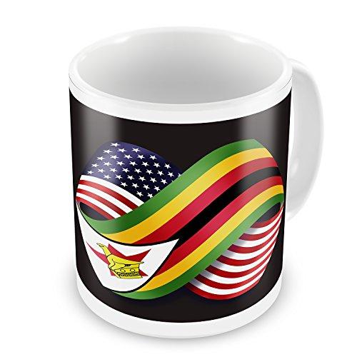 Coffee Mug Friendship Flags USA and Zimbabwe - NEONBLOND