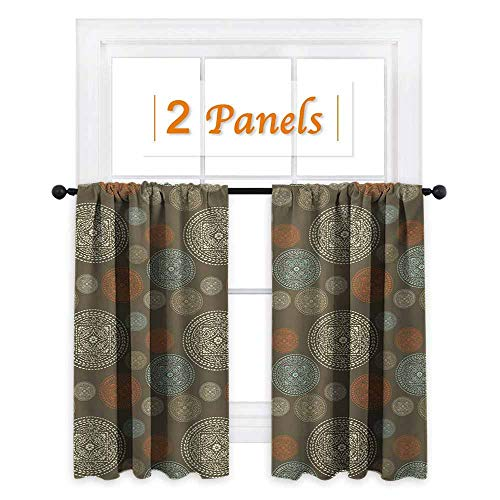 shenglv Oriental Window Curtain Fabric Arabian Boho Circular Motifs with Flowers and Swirls Earth Tones Moroccan Image Drapes for Living Room W72 x L63 Multicolor