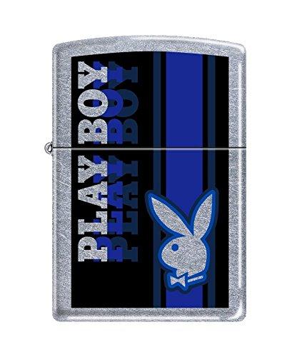 (Zippo Playboy Pocket Lighter, Blue Stripe/Street Chrome)