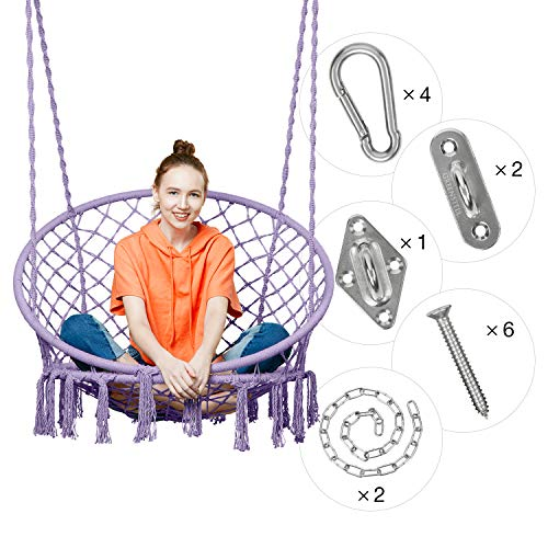 - Greenstell Hammock Chair Macrame Swing with Hanging Kits, Hanging Cotton Rope Swing Chair, Comfortable Sturdy Hanging Chairs for Indoor, Outdoor, Home, Patio, Yard, Garden, 290LBS Capacity (Purple)