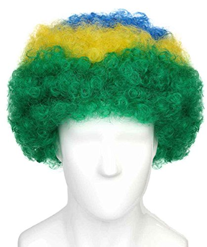 Brazil National Team Country Flag Afro Cosplay Party Costume Wig, Adult
