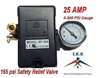 25 AMP Air Compressor Pressure Switch 4 Port 95 -125 PSI w/ Side Mount 0-200 PSI Gauge 165 PSI pop off valve