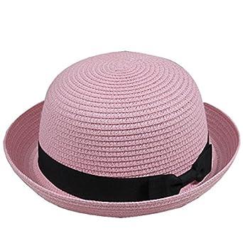 5e852e4c083 Kissmess Summer Lovely Women Straw Bowler Derby Hat All-Match Summer Roll  Brim Family Hat  Amazon.co.uk  Clothing