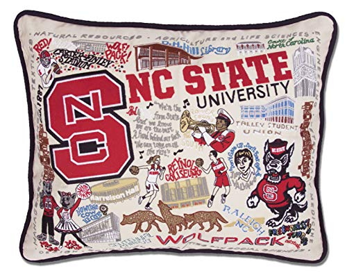 Nc State Pillow - Catstudio- North Carolina State University Embroidered Throw Pillow - 16