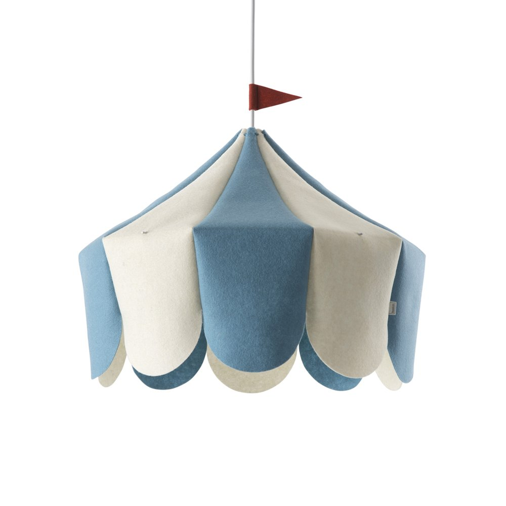 Buokids Circus, Pendelleuchte, Wollfilz Holz, Blau, 42 x 42 x 38 cm
