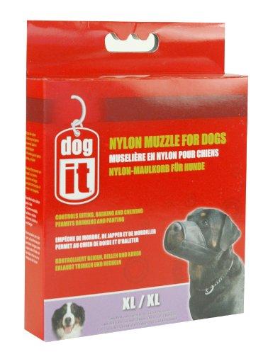 Dogit Nylon Dog Muzzle, Black, X-Large/8-1/2-Inch