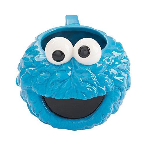 Vandor 32001 Sesame Street Cookie Monster Head Shaped Ceramic Soup Coffee Mug Cup, 20 Ounce