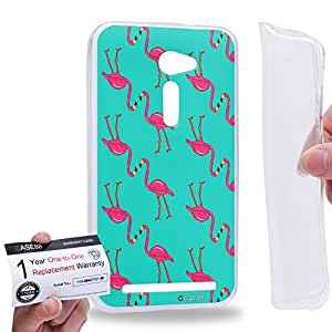 "Case88 [Asus Zenfone 2 5.0"" ZE500CL] Gel TPU Carcasa/Funda & Tarjeta de garantía - Art Drawing Couple Series Flamingo D"