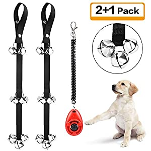 Kytely 2 Pack Dog Doorbell Adjustable Dog Bells for Potty Training with 2 Dog Training Clickers and One Collapsible Dog Bowl for Door Knob, Puppy Training, Housebreaking 35