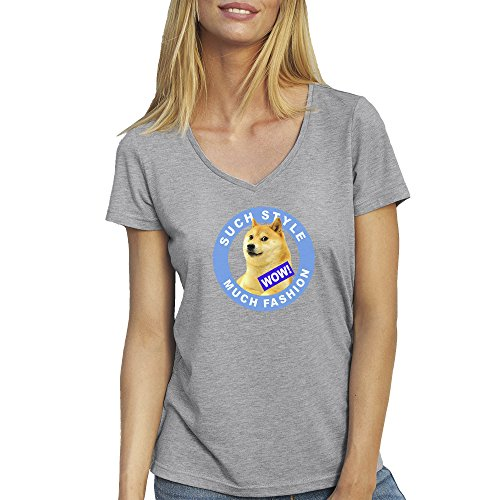 Doge Such Style Much Fashion Forever Cool T-Shirt camiseta Cuello V para la Mujer Gris