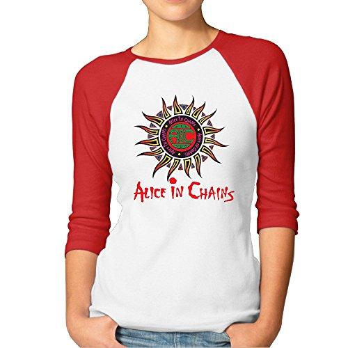 Ladies Alice In Chains Logo Raglan Baseball T-Shirt