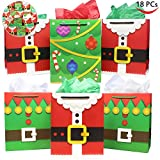 18 Pack of Santa Claus Suit Medium Gift Bags; 3 Christmas Designs Goodie Bags for Classrooms, Party Favors, Small Gift Bags, Kraft Holiday Gift Bags and Christmas Craft Bags by Joi...