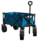 Timber Ridge Folding Camping Wagon/Cart – Collapsible Sturdy Steel Frame Garden/Beach Wagon/Cart