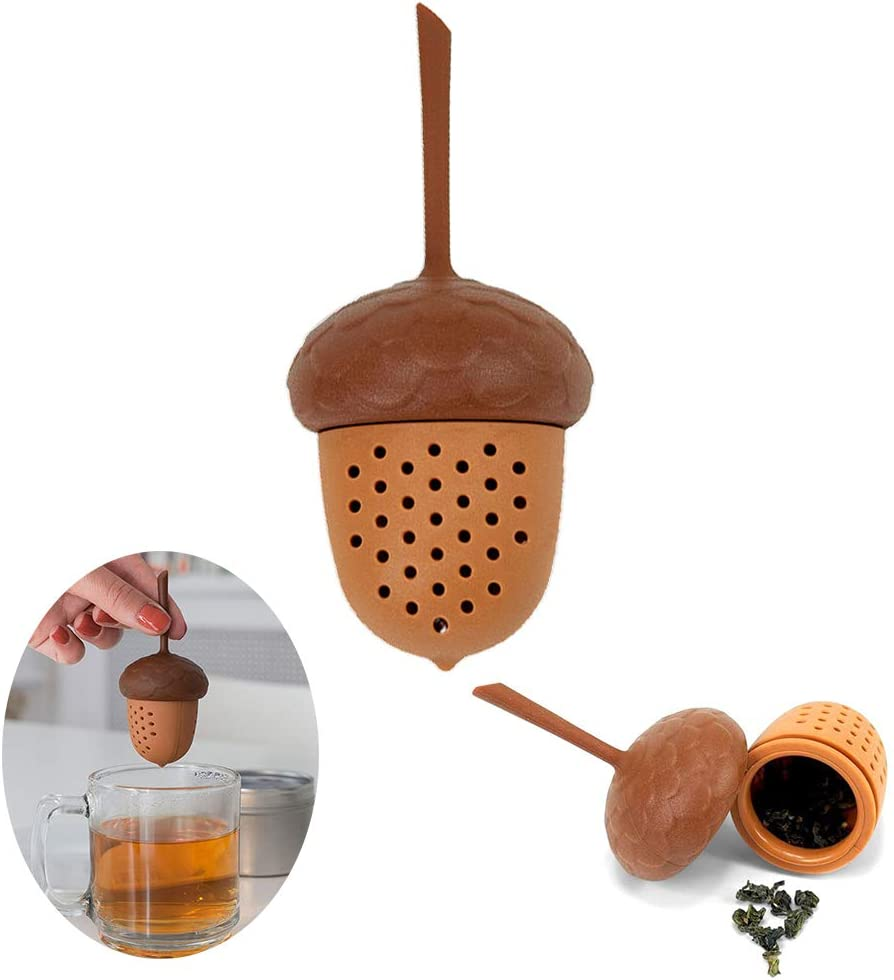 1Pcs Creative Tea Infuser Pine Cone Shaped Tea Strainer Food Grade Silicone Tea Filter with Long Handle for Home Kitchen Use Accessory Ideal Gift for Tea Lover Drinkers BPA Free Eco-friendly Brown