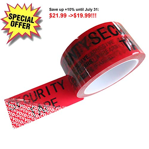 1 Roll 100% Total Transfer Tamper Evident Security Void Tape (Red 2