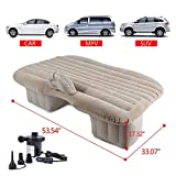 Beige Inflatable Travel Car Mattress Air Bed Back