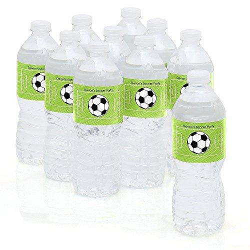 Custom GOAAAL! - Soccer - Personalized Party Water Bottle Sticker Labels - Set of 10 (Personalized Sport Label Water)