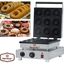 Newtry NP-7 9pcs Stainless Steel Commerical/Home Electric Donut Machine Waffle Baker Baking Equipment CE Certification (220V)