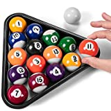 "Mini Pool Balls & Triangle Bundle | 1.5"" Balls Fit Tabletop & Freestanding Miniature Billiards Tables | Real Resin Balls Perform Like Full Size Balls"