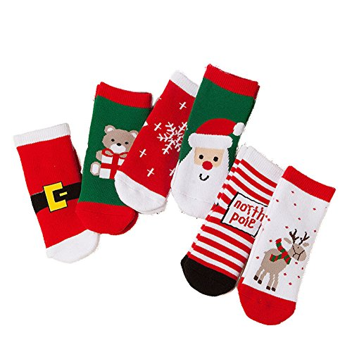 ZaH 6 Pack Christmas Socks for Baby Big Boy Girl Cotton Ankle Sock Kids Gift Set 4-6