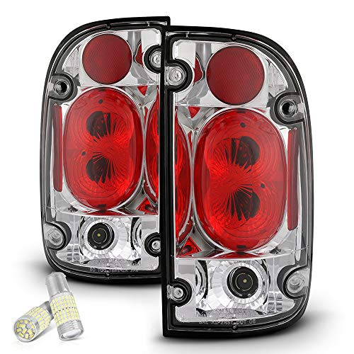 (VIPMOTOZ Chrome Bezel Euro Style Altezza Tail Light Housing Lamp Assembly Replacement For 1995-2000 Toyota Tacoma Pickup Truck - Full SMD LED Backup Bulbs, Driver and Passenger Side)