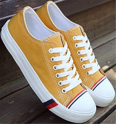 Chaussures De Toile De Satuki Pour Les Femmes, Mocassins Lacent Casual Sport Plat Sneaker De Mode Jaune