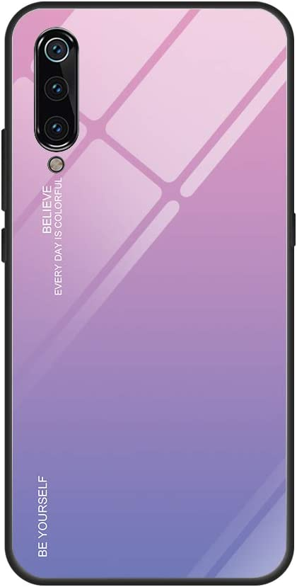 Funda Xiaomi Mi 9 360 Grados Pantalla Completa Vidrio Templado Ultra Slim Ligero Original PC Duro Cover Anti-rasguños Protection Cámara para Mi 9 Carcasa (Polvo + púrpura, Mi 9 6.39