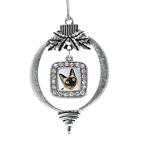 (Inspired Silver - Siamese Cat Charm Ornament - Silver Square Charm Holiday Ornaments with Cubic Zirconia Jewelry)