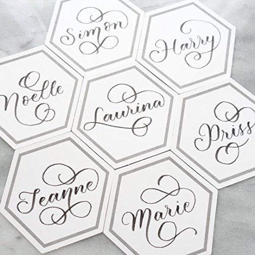 Event Menu Card (UNIQOOO Hexagon White Grey Paper Escort Place Cards for Wedding, Birthday Party, Table Numbers, Guest Name Tag, Food Signs and Any Event, Pack of 50 (Hexagon Shape))