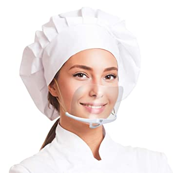 protector facial visera de media cara 10 unidades protector facial transparente de pl/ástico 20 piezas de protector facial abierto transparente protector bucal port/átil c/ómodo y el/ástico