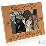 Kate Posh - Thank You Mom & Dad On Our Wedding Day - Engraved Natural Wood Picture Frame - Mother of the Bride Gifts, Father of the Bride, Mother of the Groom, Father of the Groom (4x6 Horizontal)
